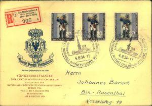 1954, Ortseinschreiben mit 3 Stück Postillion mit Sonderstempel und -R-Zettel der Ausstellung nach Berlin-Rosenthal. Ank