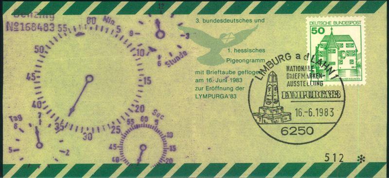 1983, Pigeongramm zur Ausstellung LIMPURGA in Limburg.