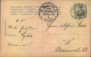 1906, Ortskarte BERLIN N 39 29.6.06 mit EF 2 Pfg. Germania. 2 Tage vor Ende des 2 Pfg. Portos.