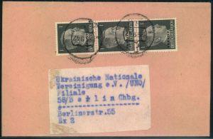 1942, Streifband mit 3-mal 1 Pfg. Hitler entwertet mit Tarnstempel nach Berlin.