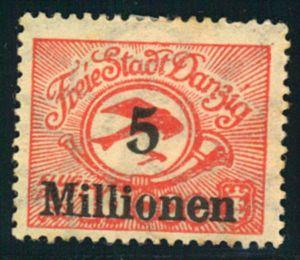 1923, Flugpostmarke 5 Millionen auf 10.000 statt 50.000 postfrisch.