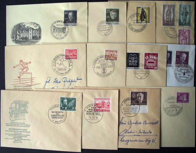 1953/1955: BERLIN, 20 verschiedene amtliche FDC - hoher Katalogwert