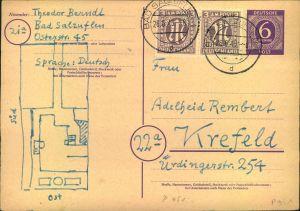 1946, 2-mal 3 Pfg. Dt. Druck als Zusatzfrankatur auf 6 Pfg. Ziffer GSK