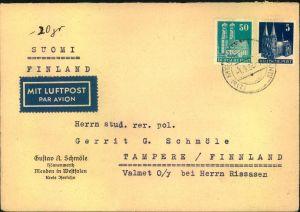 1952, Luftpostbrief mit 50 und 5 Pfg. eng gezähnt ab MENDEN (WESTFALEN) nach Finnland