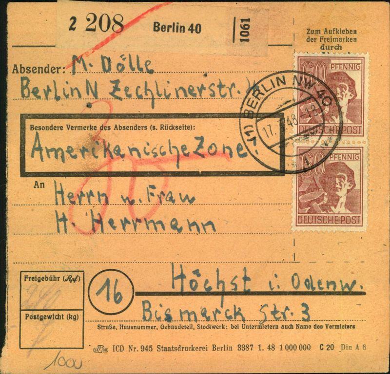 1948, Paketkarte ab BERLIN NW 40 mit 2-mal 60 Pfg. Arbeiter vorder- und 2-mal rückseitig.