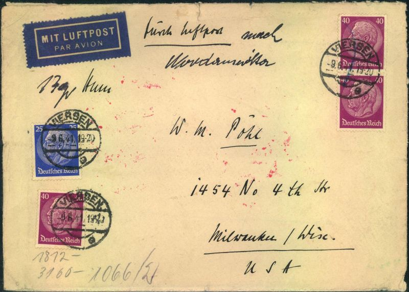 1941, Luftpostbrief ab VIERSEN nach USA.