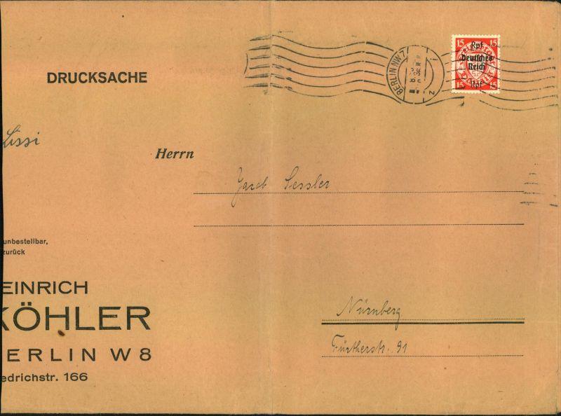 1939, großformatige Drucksache (100-250 g), links leicht verkürzt mit seltener EF 15 Pfg. Danzig-Abschied ab BERLIN NW 7