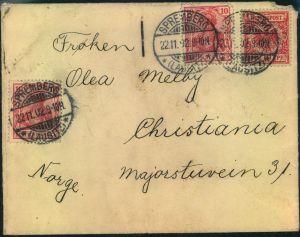1902, Auslandsbrief ab SPREMBERG 22.11.02 mit sehr später MiF 10 Pfg. Krone/Adler und zweimal 10 Pfg. Germania