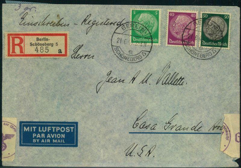 1940, Luftpost-Einschreiben ab BERLIN-SCHÖNEBERG 21.6.40 mit Zensur nach USA.