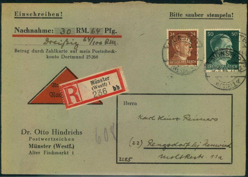 1944, Einschreiben-Nachnahme 2. Gewichtsstufe ab MÜNSTER (WESTF.). Seltene 74 Pfg. Frankatur.