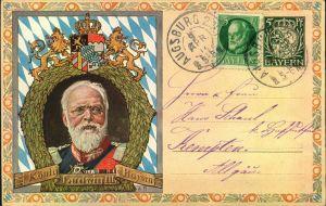 1912, 5 Pfg. Privatganzsachenkarte Ludwig III mit umseitiger Abbildung der bayerischen Briefmarken ab den Quadratausgabe