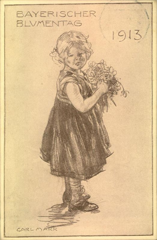 1913, Privatpostkarte BAYERISCHEER BLUMENTAG blanko gestempelt AUGSBURG.