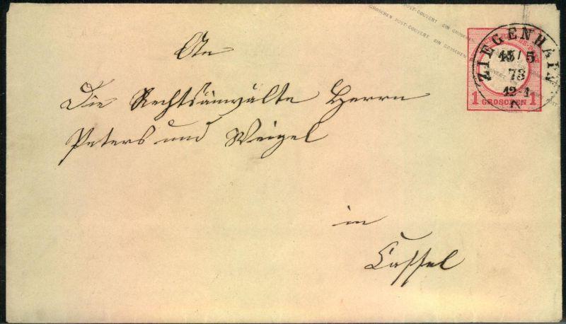 1873, ZIEGENHALS, nachverwendeter K1 auf 1 Groschen Brustschild Ganzsachenumschlag