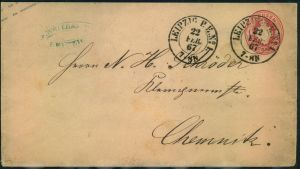 1867, LEIPZIG P.E. No. 1 somer nachverwendeter K2 auf Preussen 1 Gr. Wappenumschlag.