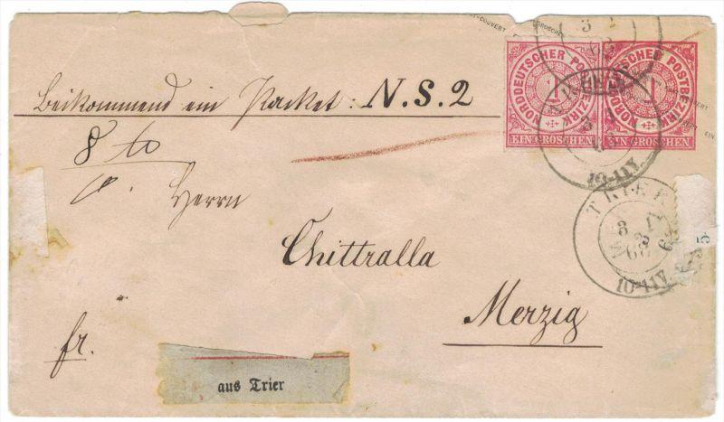 1868, 1 Groschen Ganzsachenumschlag mit 1 Gr. Zusatzfrankatur als Paketbegleitung ab TRIER