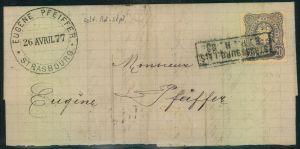 1883, Briefteil mit 20 Pfg. und besserrem Stempel STRASSBURG i. Els. E.B.P. 20