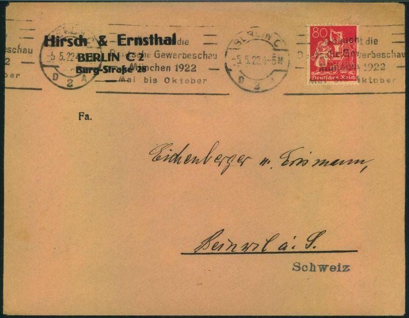 1922, portogerechte Auslandsdrucksache mit 80 Pfg. Arbeiter Wz 1 und Maschinenstempel MÜNCHEN in die Schweiz.