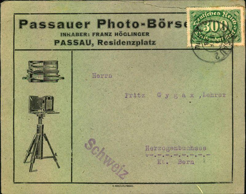 1923, Auslandsdrucksache mit 300 M EF ab PASSAU, Reklame