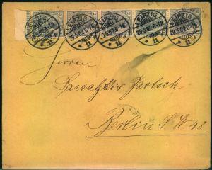 1902, Brief ab LEIPZIG mmit 5-er-Streifen 2 Pfg. Germania Deutsches Reich.