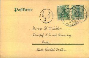 1904, 5 Pfg. Germania Postkarte mit wertgleicher Zusatzfrankatur ab HALL (SCHWABEN) nach Java.
