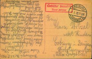 1923, Postkarte ab FREIBURG (BREISGAU) mit rotem