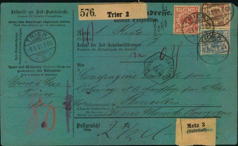 1901, Paketkarte mit10,20 und 50 Pfg. Krone/Adler ab TRIER nach Frankreich. Leichte Büge.