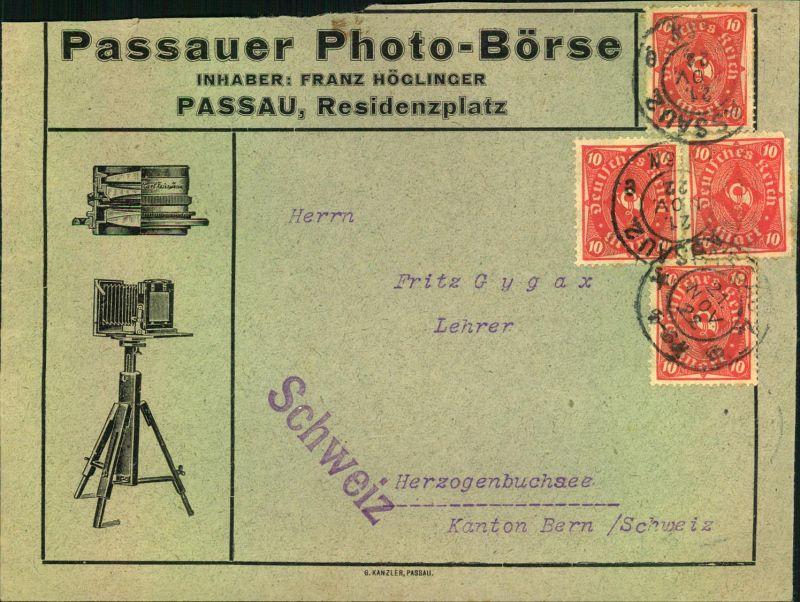 1922, Auslandsdrucksache mit 10 M MeF ab PASSAU, Reklame