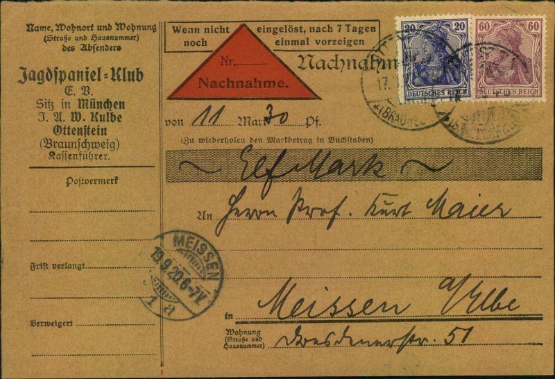 1920, Nachnahmekarte mit Germania-Frankatur  ab Ottenstein für Beitrag Jagdspanielklub. Hund, Dog, Chien.