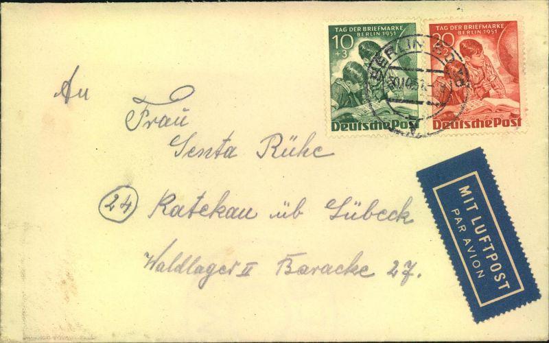 1951, Tag der Briefmarke 20 und 30 Pfg. auf Luftpostbrief ab BERLIN SO 36