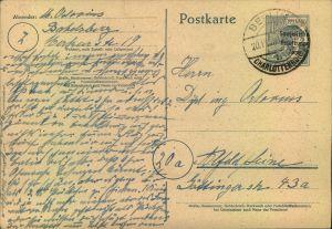 1948, Postkarte mit 12 Pfg. AS Werstempel mit verschobenem Aufdruck ab BERLIN-CHARLOTTENBURG 4 mit Ost-Absender.