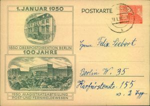 1950, 8 Bauten Ganzsachenkarte 100 Jahre OPD Berln, bedarfsgebraucht b BERLIN-BRITZ.
