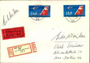 1990, 1 M Düsenflugzeug zweimal auf Orts-Express/Einschreiben ab BERLIN ZPF 07.06.90. Aviation