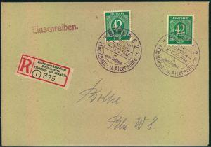 1946, überfrankiertes Sammlereinschreiben mit Sonderstempel und -R-Zettel der Ausstellung. Ankunftsstempel BERLIN W8 rüc