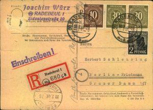 1948, Einschreibkarte ab RADEBEUL  nach Berlin-Friedenau