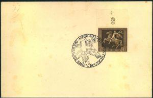 1938, Braunes Band vom Oberrand auf blanko Umschlag mit SSt