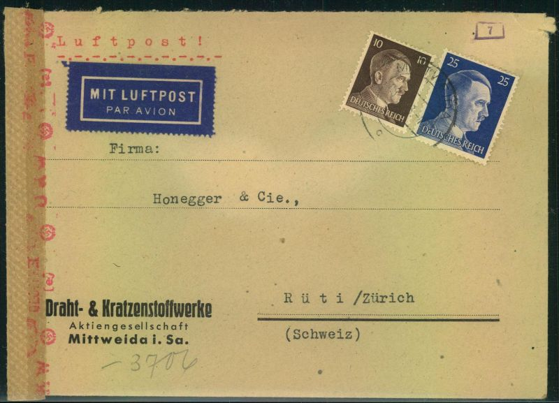 1943, Luftpostbrief ab MITTWEIDA; SACHSEN mit Zensur in die Schweiz.