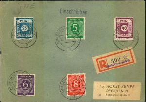 1946, 25 Pfg. Postmeistertrennung Loschwitzmmit PF III (
