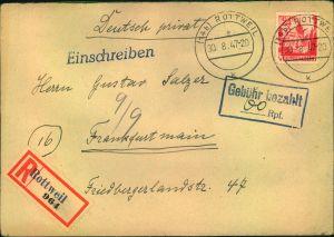 1947, Einschreiben mit Teilbarfrankatur