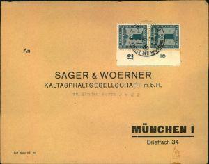 1942, Ortsbrief mit senkrechtem Randpaar 4 Pfg. Parteidienstmarken ohne Wz.