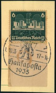 1935, 6 Pfg. Marke aus OSTROPA-Block mit anhängendem Blockrand auf Briefstück mit SSt HAMBURG HANSAPOSTA. Auf dieser Aus