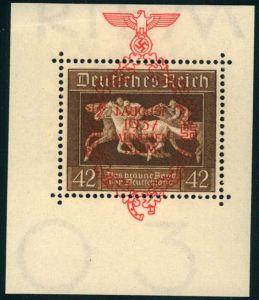 1937, Braunes Band, 42 Pfg. marke mit Überdruck aus Block. Selten angeboten. Bug im Blockrand.
