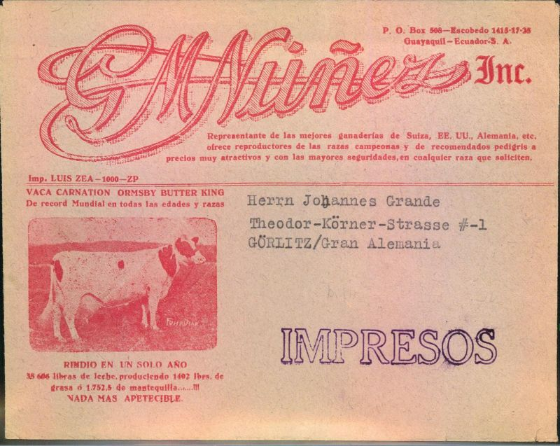 1938, nice advertising envelope from GUAYAQUIL to Germany, cow