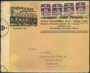 1942, nice advertising envelope with multiple franking and german censor from KOPENHAGEN to Germany.