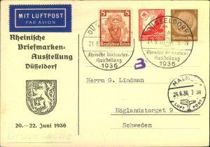 1936, Privatganzsache zur Briefmarkenausstellung Düsseldorf 1936, mit Zusatzfrankaturen per Frankatur nach Schweden.