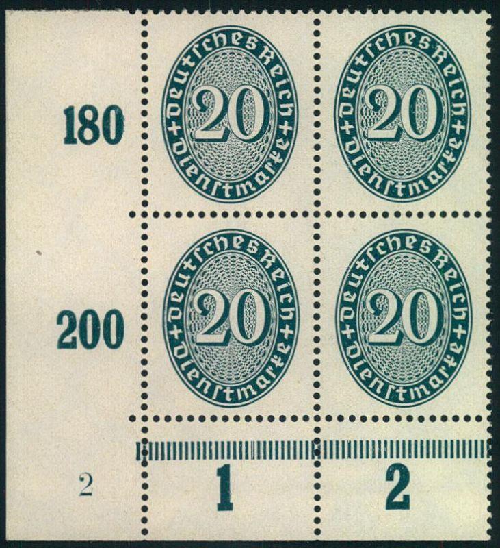1930, 20 Pfg. Korbdeckel mit stehendem Wasserzeichen, postfrischer Viererblock aus der linken unteren Ecke mit Plattennu