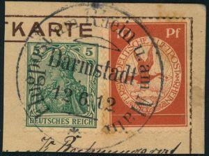 1912, Flugpost Rhein-Main 10 Pfg. mit 5 Pfg. germania auf Kartenausschnitt