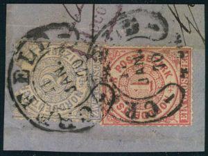 1870, CREFELD, bessereer Hufeisenstempel auf Briefstück mit 1 und 2 Groschen NDP