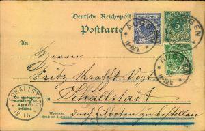 1895, 5 Pfg. Krone/Adler Wertstempel mit 5 und 20 Pfg. Zusatzfrankatur auf Eilkarte ab AUGGEN nach Schallstadt.