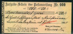1880, Aufgabeschein über eine Postanweisung ab WALLERSTEIN.