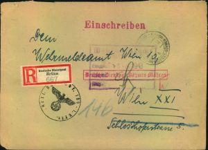 1943, Einschreiben ab BRÜNN